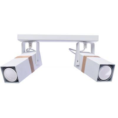 Milagro Vidar White lampa podsufitowa 2x8W biało/drewniana MLP5406