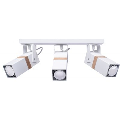 Milagro Vidar White lampa podsufitowa 3x8W biało/drewniana MLP5407