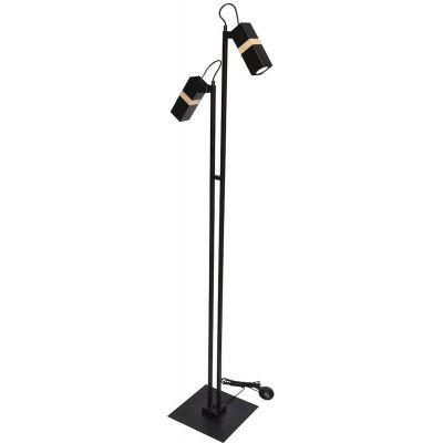 Milagro Vidar Black lampa stojąca 2x8W czarno/drewniana MLP6104