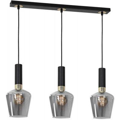 Milagro Roma lampa wisząca 3x60W czarno/złota/szkło dymione MLP6485