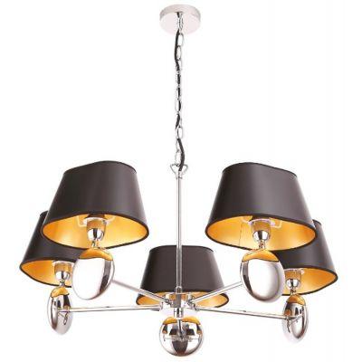 MaxLight Napoleon lampa wisząca 5x40W chrom/czarny/złoty P0127