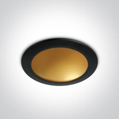 One Light Nata lampa do zabudowy 1x16W czarny/mosiądz 10116FD/B/BS