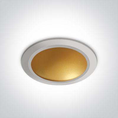 One Light Nata lampa do zabudowy 1x16W biały/mosiądz 10116FD/W/BS