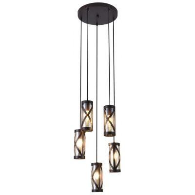 Rabalux Oberon lampa wisząca 5x40W brązowy/bursztynowy 5340