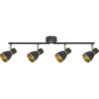 Rabalux Mackenzie lampa podsufitowa 4x40W czarny/złoty 5608