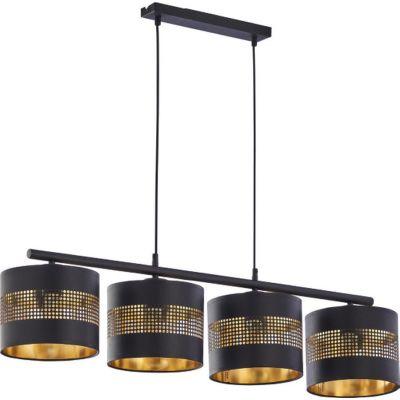 TK Lighting Tago Black lampa wisząca 4x15W czarna/złota 3213