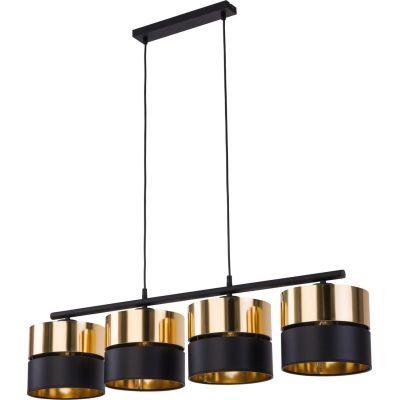 TK Lighting Hilton lampa wisząca 4x15W czarna/złota 4342