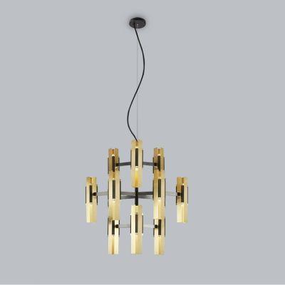 Tooy Excalibur lampa wisząca 12x12W czarny piaskowy/mosiądz szczotkowany 559.12.C74.C41
