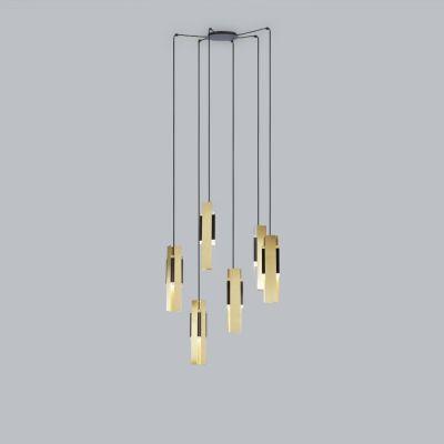 Tooy Excalibur lampa wisząca 6x12W czarny piaskowy/mosiądz szczotkowany 559.26.C74.C41