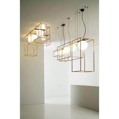 Vesoi Multiplo 40/sp2 lampa podsufitowa 2x7W naturalny surowy mosiądz/czarny/przezroczysty SP00114