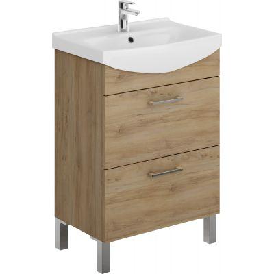 Zestaw Cersanit Cersania New umywalka z szafką zestaw meblowy 60 cm biały/orzech ( K110046, S543028DSM)