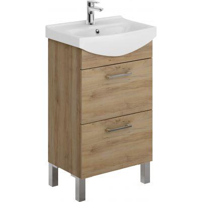 Zestaw Cersanit Cersania New umywalka z szafką zestaw meblowy 50 cm biały/orzech (K110044, S543027DSM)