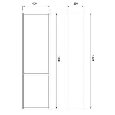 Cersanit Crea szafka 140 cm wisząca słupek boczny biały S924-022
