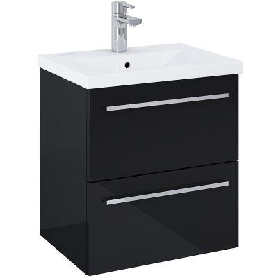 Elita Kwadro Plus umywalka 50 cm z szafką wiszącą czarna 167649