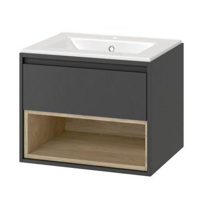 Excellent Tuto zestaw umywalka z szafką 60 cm szary/dąb MLCE.0101.3617.600.GRBL