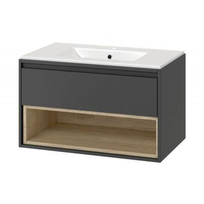 Excellent Tuto zestaw umywalka z szafką 80 cm szary/dąb MLCE.0101.3617.800.GRBL