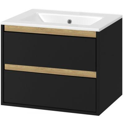 Excellent Tuto zestaw umywalka z szafką 60 cm czarny mat/dąb MLEX.0103.600.BKBL/CEEX.3617.600.WH
