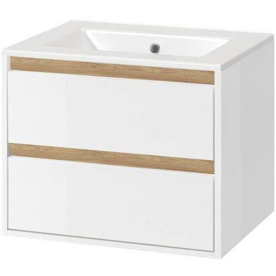 Excellent Tuto zestaw umywalka z szafką 80 cm biały połysk/dąb MLEX.0103.800.WHBL/CEEX.3617.800.WH