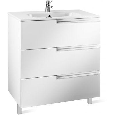 Roca Victoria-N Family zestaw łazienkowy Unik 60 cm umywalka z szafką biały połysk A855839806