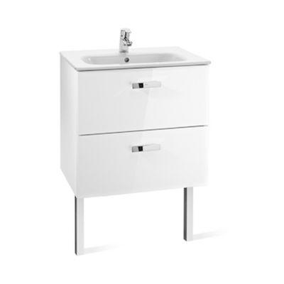 Roca Victoria Basic Unik zestaw łazienkowy 70 cm umywalka z szafką biały połysk A855853806