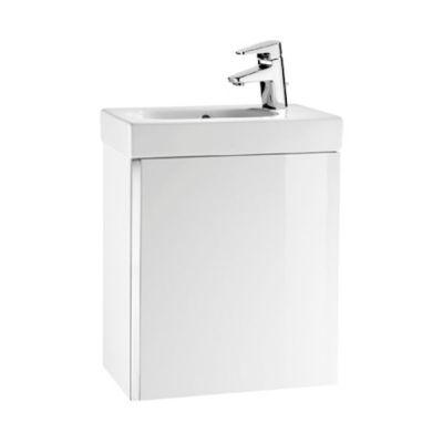 Roca Unik Mini zestaw łazienkowy 45 cm umywalka z szafką biały połysk A855873806