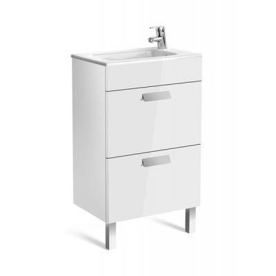 Roca Debba Unik Compacto zestaw łazienkowy 50 cm umywalka z szafką biały połysk A855904806