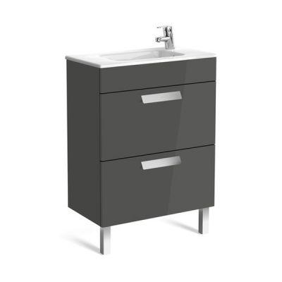 Roca Debba Unik Compacto zestaw łazienkowy 60 cm umywalka z szafką szary antracyt połysk A855905153