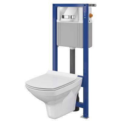 Cersanit Carina Set 878 miska WC CleanOn z deską wolnoopadającą Slim i stelaż podtynkowy Aqua z przyciskiem spłukującym Movi chrom błyszczący S701-201