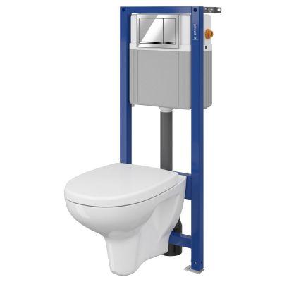 Cersanit Arteco Set 883 miska WC CleanOn z deską wolnoopadającą i stelaż podtynkowy Aqua z przyciskiem spłukującym Enter chrom błyszczący S701-206