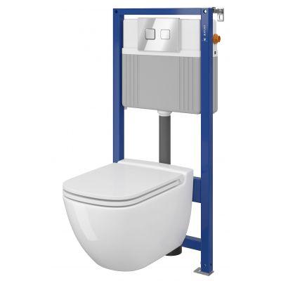 Cersanit Caspia Set B29 miska WC CleanOn z deską wolnoopadającą Slim i stelaż podtynkowy Aqua z przyciskiem spłukującym Accento Square chrom błyszczący S701-321