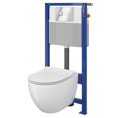 Zestaw Cersanit Zen Set B226 miska WC Clean On z deską wolnoopadającą slim i stelaż podtynkowy z przyciskiem spłukującym Accento Circle chrom błyszczący S701-411