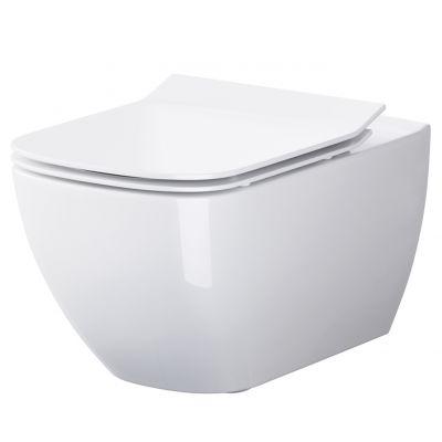Zestaw Cersanit Virgo miska WC wisząca CleanOn z deską wolnoopadającą białą S701-427