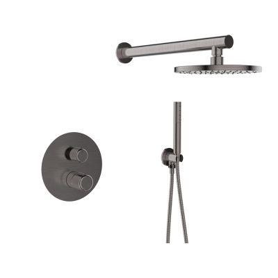 Laveo Pretto zestaw prysznicowy podtynkowy z deszczownicą grafit BAO901P