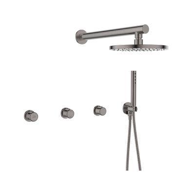 Laveo Pretto zestaw prysznicowy podtynkowy z deszczownicą grafit BAO904P