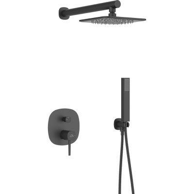 Laveo Pola zestaw prysznicowy podtynkowy z deszczownicą czarny BAP701P
