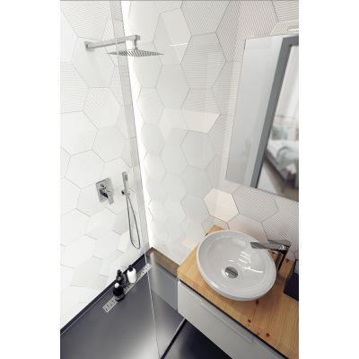 Laveo Kvadrato zestaw prysznicowy podtynkowy z deszczownicą chrom BLQ002P