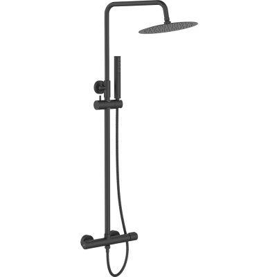 Laveo Pretto zestaw prysznicowy ścienny z deszczownicą czarny mat PLP70OB