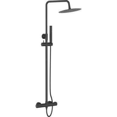 Laveo Pretto zestaw prysznicowy ścienny termostatyczny z deszczownicą czarny mat PLP70TD