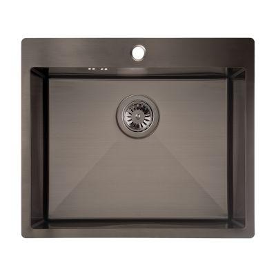 Laveo Marmara zlewozmywak stalowy 59x51 cm 1-komorowy grafit SAM510T