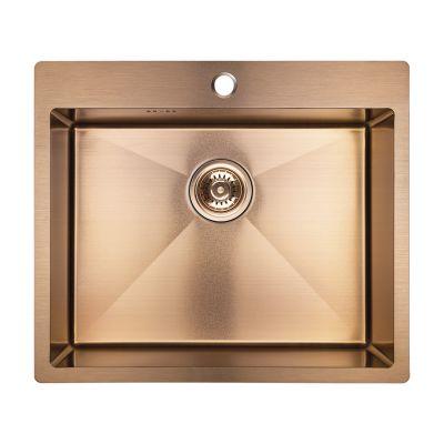 Laveo Marmara zlewozmywak stalowy 59x51 cm 1-komorowy różowe złoto SAM810T