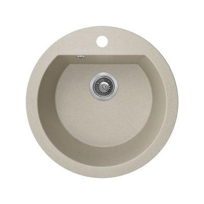 Laveo Dafne zlewozmywak granitowy 51 cm 1-komorowy okrągły beżowy SBD480T