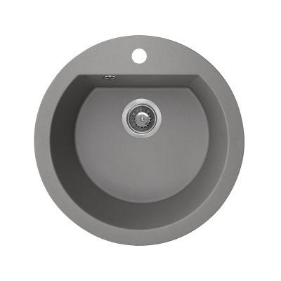 Laveo Dafne zlewozmywak granitowy 51 cm 1-komorowy okrągły szary SBD580T
