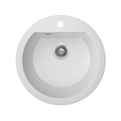 Laveo Dafne zlewozmywak granitowy 51 cm 1-komorowy okrągły biały SBD680T