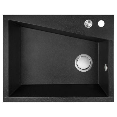 Laveo Grenada zlewozmywak granitowy 60x48 cm 1-komorowy czarny SBG710T