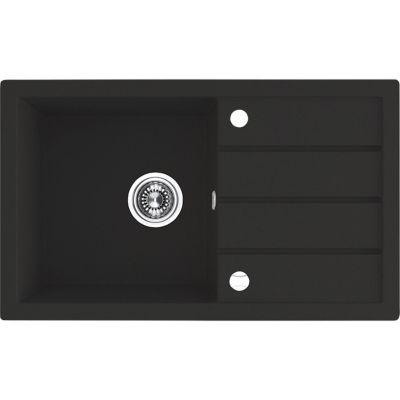 Laveo Trzynastka zlewozmywak granitowy 79x48 cm 1-komorowy czarny SBP711T