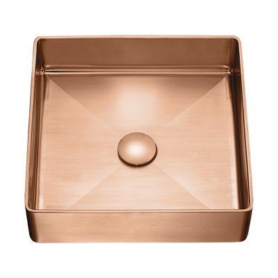Laveo Pola umywalka 36x36 cm stalowa nablatowa różowe złoto VUP822S