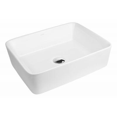 Oltens Forde umywalka 48x37 cm nablatowa prostokątna z powłoką SmartClean biała 40814000
