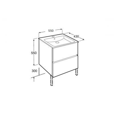 Roca Cube zestaw łazienkowy Unik 55 cm umywalka z szafką biały połysk A85119A806