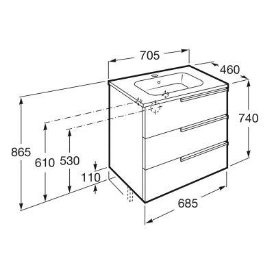 Roca Victoria-N Family zestaw łazienkowy Unik 70 cm umywalka z szafką biały połysk A855838806
