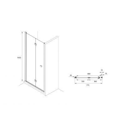 Roca Capital drzwi prysznicowe 90 cm składane szkło przezroczyste AM4509012M
